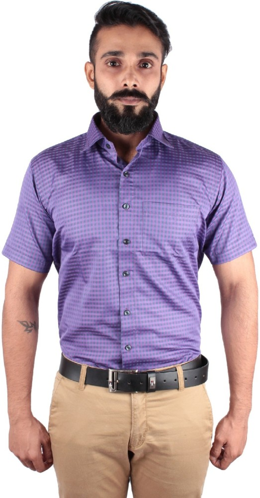 44e0d83690f McHenry Men's Purple Checkered Formal Shirt - Wrinkle Free - Non ...